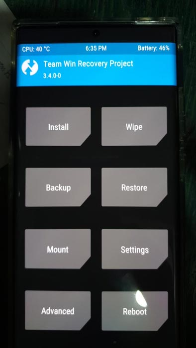 Samsung Galaxy Note 20 5G Root Android 10 TWRP Screen