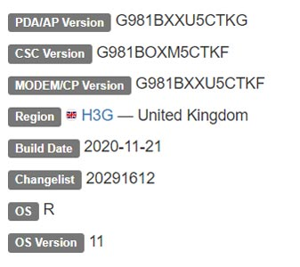 Samsung Galaxy S20 LTE Android 11 Firmware Details