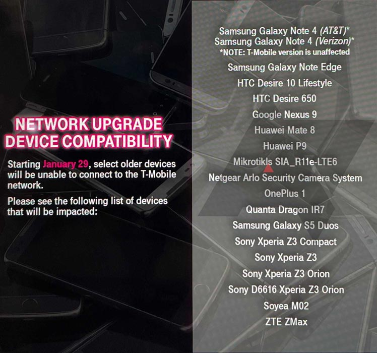 T-Mobile VoLTE Free Replacemenmt mobiles eligible list