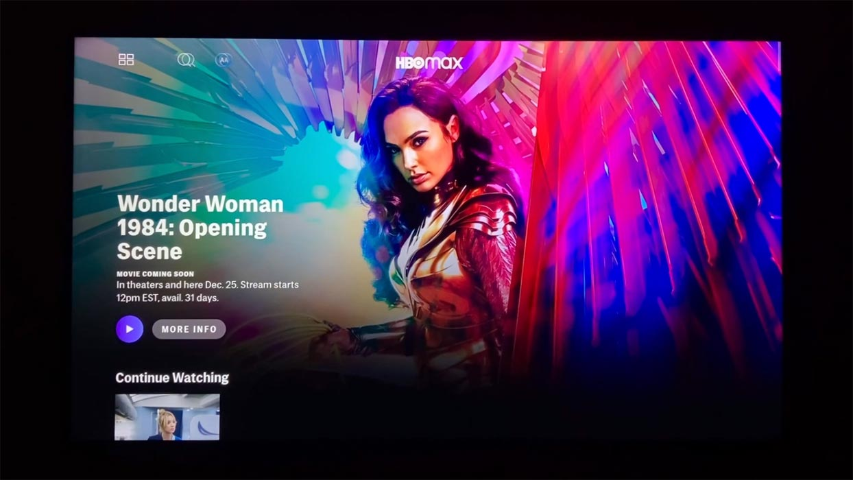 Wonder Woman 1984 Dolby Atmos HBO Max in Android TV