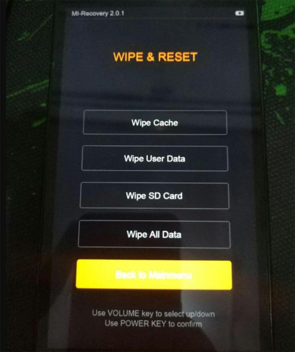 Xiaomi Recovery Wipe Option