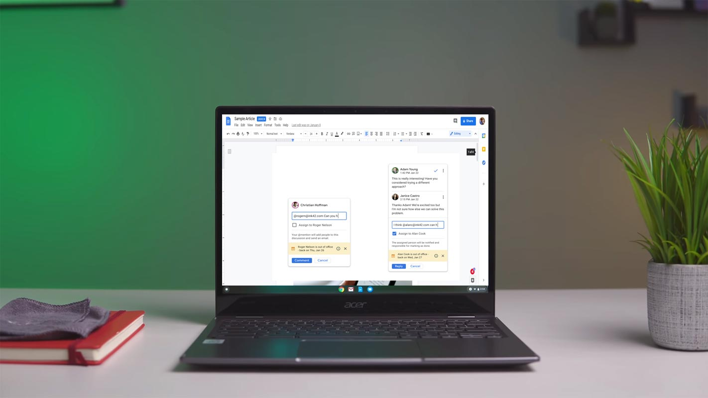 Google Docs Added Person is Out of Office