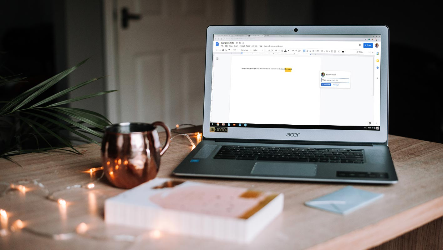 Google Docs Comments Section Smart Compose in Acer Windows Laptop