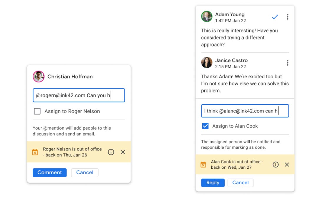 Out of Office Notification Feature Google Docs