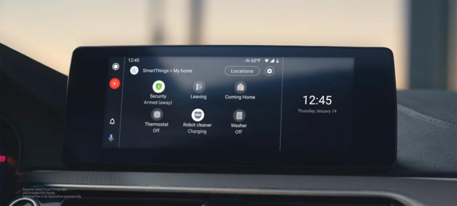 Samsung SmartThings Android Auto Screen