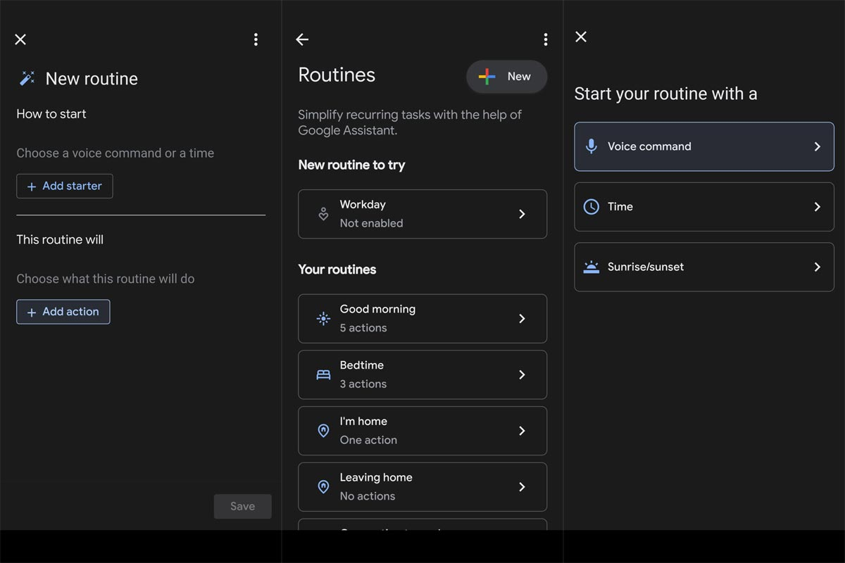 Add Starter Google Assistant Routines