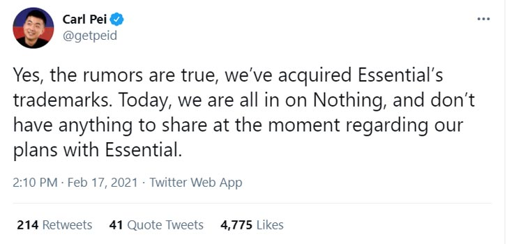 Carl Pei's Nothing Company Officially Acquired the Essential Tweet