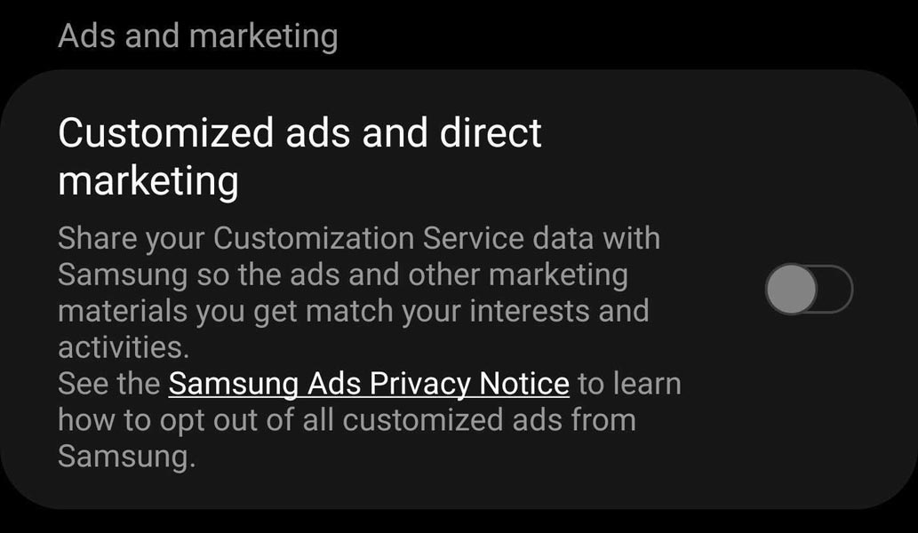 Disable Samsung Privacy Ads