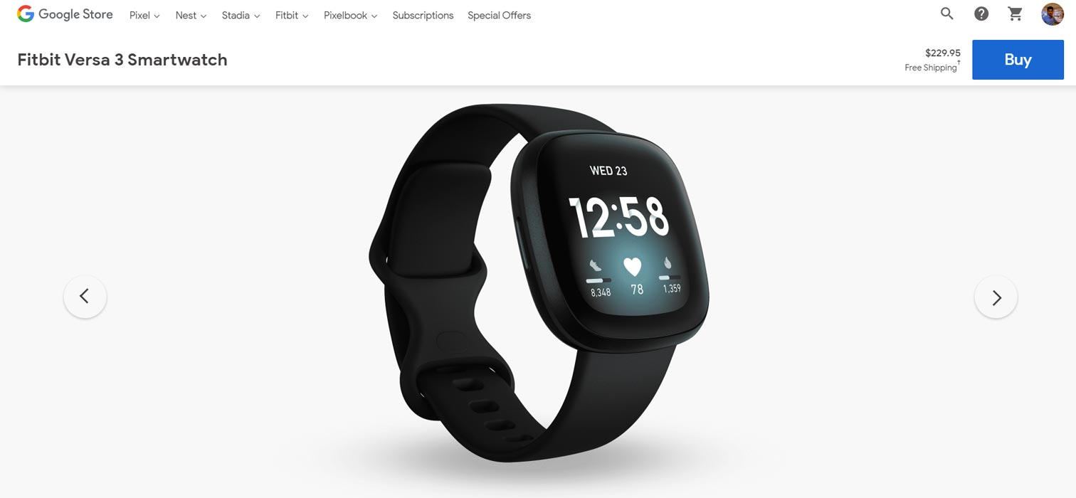 Fitbit Versa 3 available in Google Store