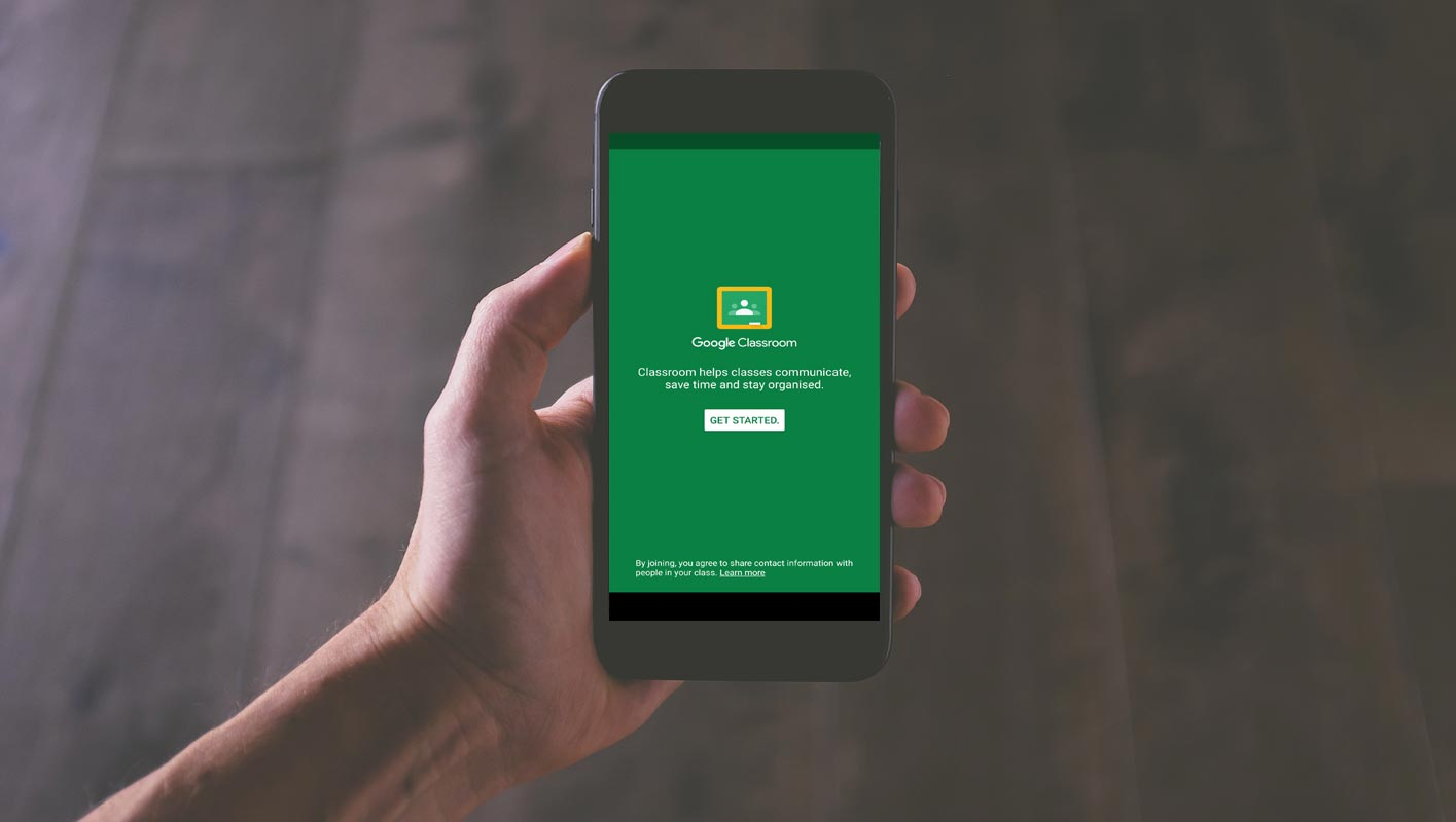 Google Classroom Start Screen in Mobile