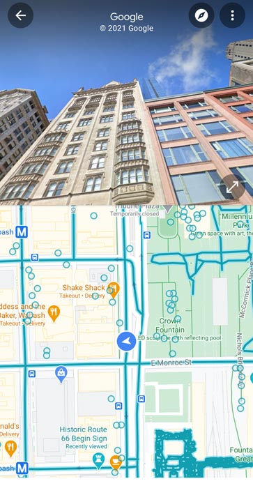 Google Maps Split Screen UI in Android Mobile