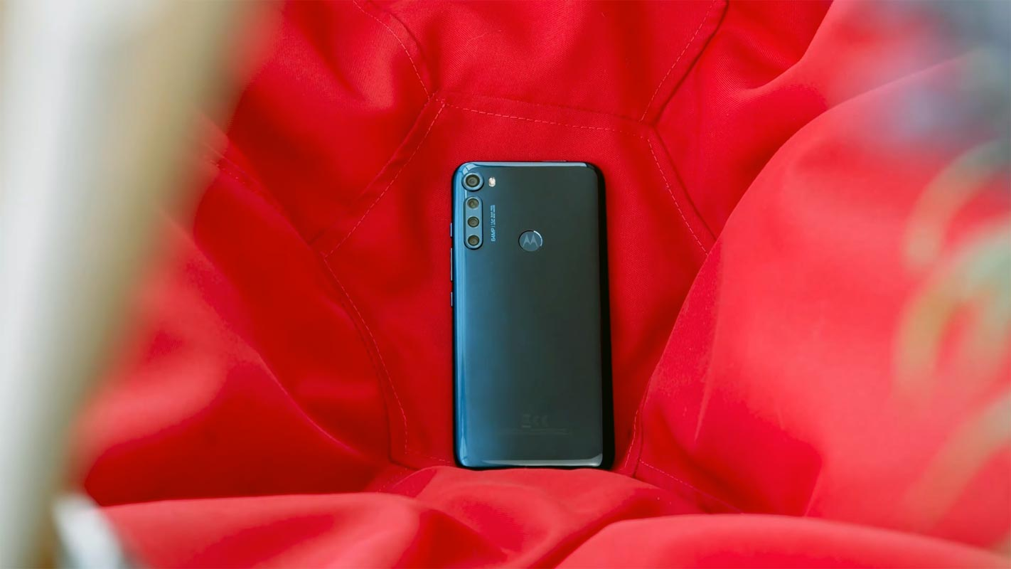 Motorola One Fusion Back Side on the Red Cloth