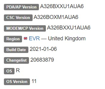 Samsung Galaxy A32 5G Android 11 Firmware Details