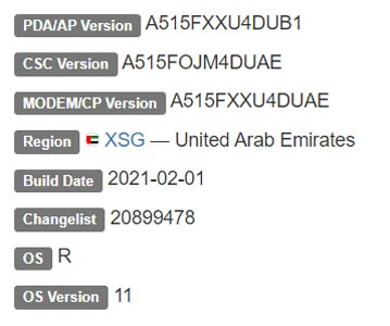 Samsung Galaxy A51 4G Android 11 Firmware Details
