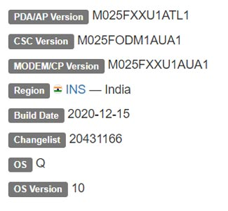 Samsung Galaxy M02 Android 10 Firmware