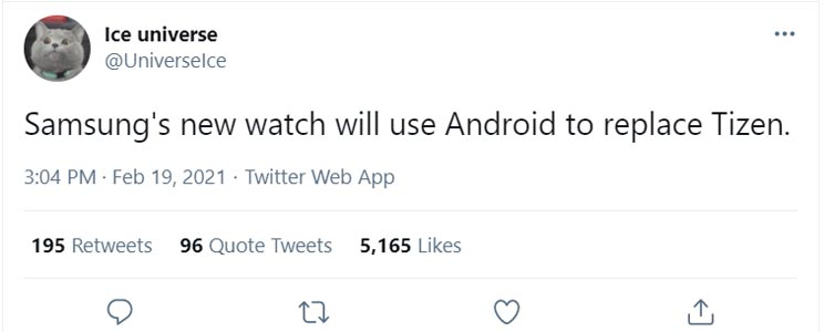 Samsung Galaxy Watch 2021 Android OS Leak twitter
