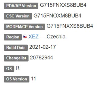 Samsung Galaxy Xcover Pro Android 11 Firmware Details