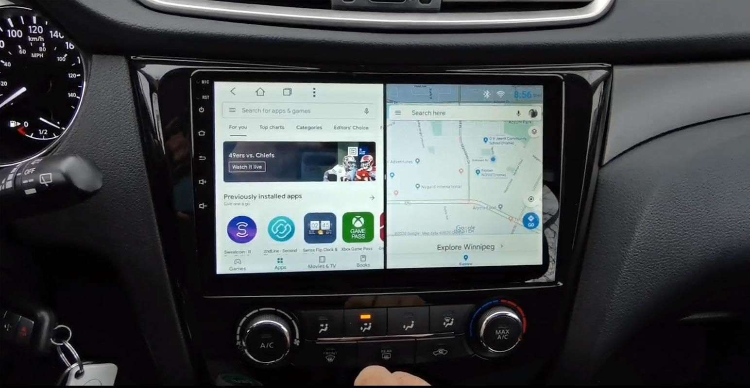 Android Auto Split Screen in Car