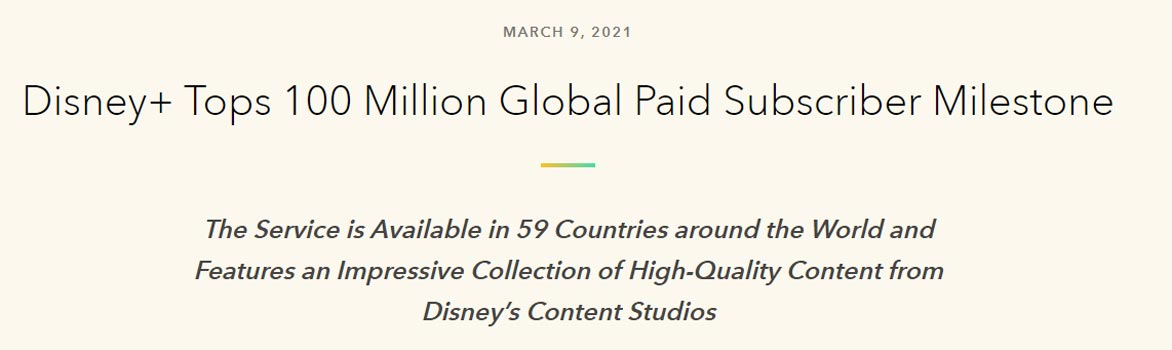 Disney Plus Reached 100 Million Paid Subscribers Official Statement