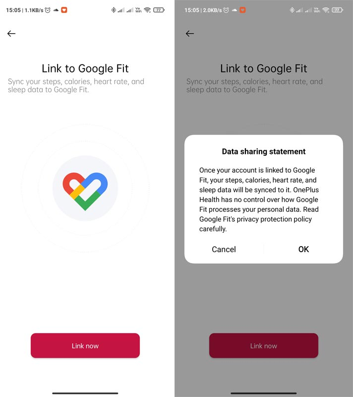 OnePlus Band Google Fit Integration