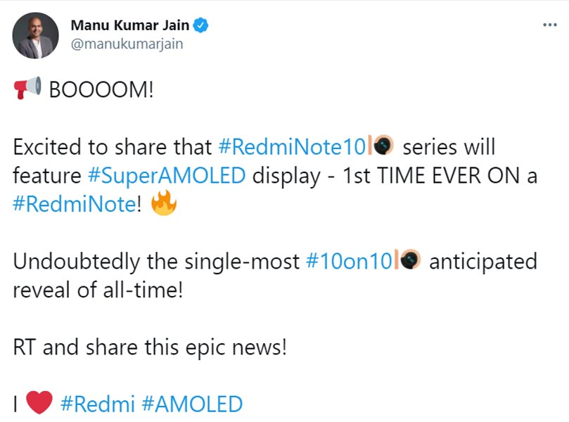 Redmi Note 10 Series AMOLED Screen Official Tweet