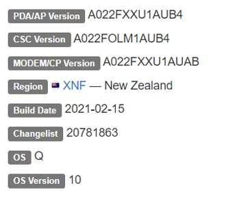 Samsung Galaxy A02 Android 10 Firmware Details