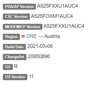 Samsung Galaxy A52 4G LTE Android 11 Firmware Details