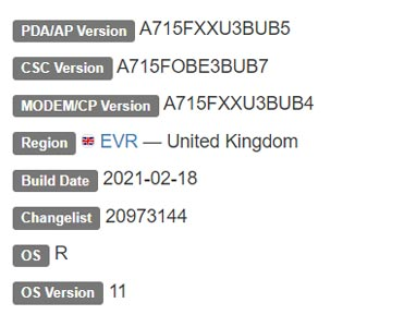 Samsung Galaxy A71 4G LTE Android 11 Firmware Details