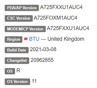 Samsung Galaxy A72 4G LTE Android 11 Firmware Details
