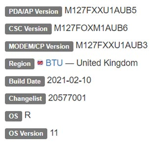 Samsung Galaxy M12 Android 11 Firmware Details
