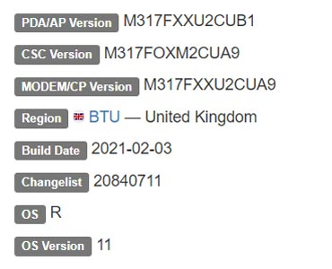 Samsung Galaxy M31s Android 11 Firmware Details