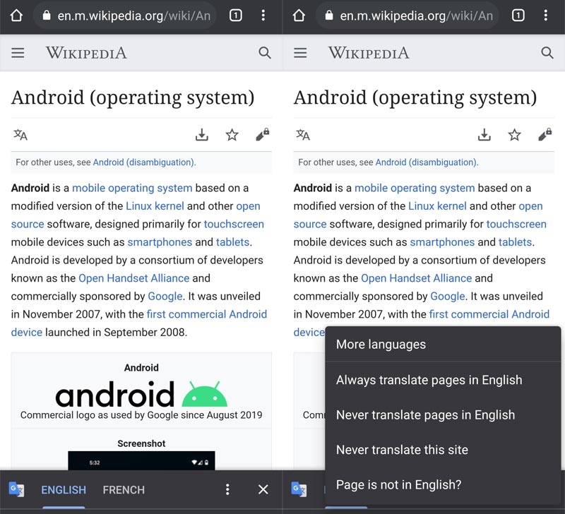 Disable Translate For a Particular Language Chrome Android