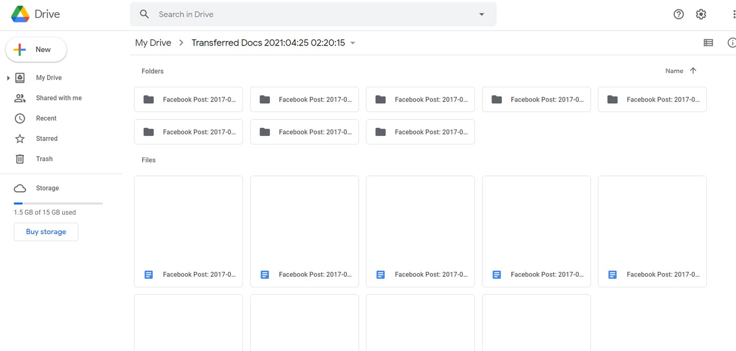Facebook Shared data to Google Drive Docs