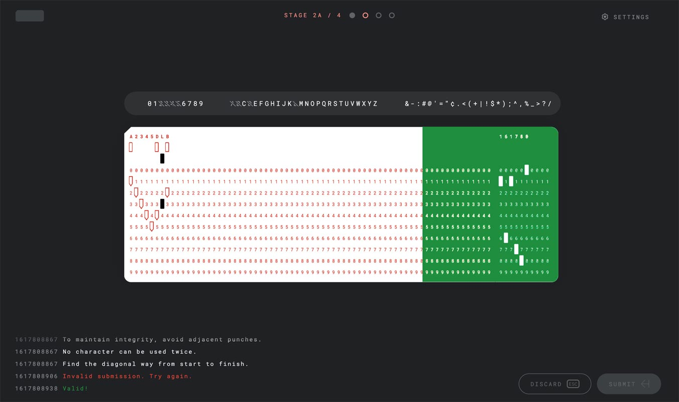 Google I/O 2021 Puzzle 4- Stage 2A- Complete the punch card