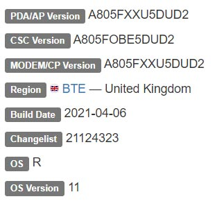 Samsung Galaxy A80 Android 11 Firmware Details