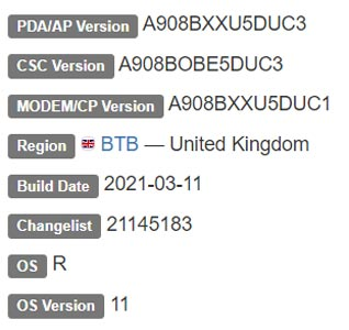 Samsung Galaxy A90 5G Android 11 Firmware Details