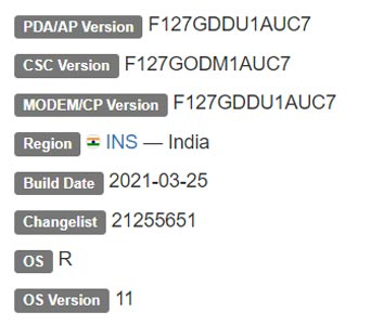 Samsung Galaxy F12 Android 11 Firmware Details