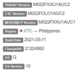 Samsung Galaxy M02 Android 10 Firmware Details