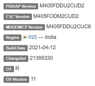 Samsung Galaxy M40 Android 11 Firmware Details