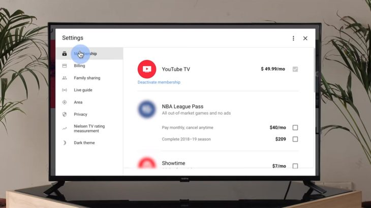 YouTube TV Subscription in Android TV
