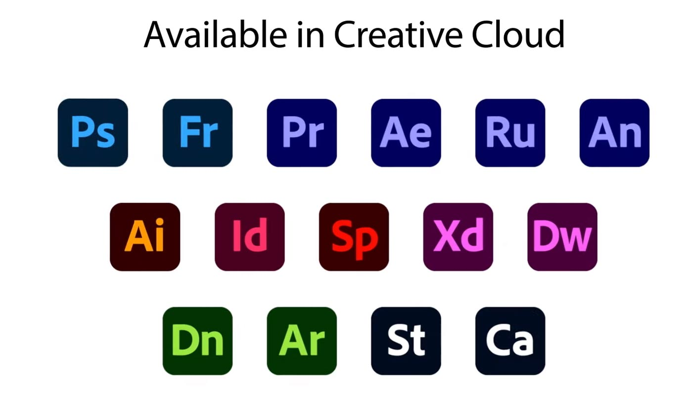 Available Apps in Adobe Creative Cloud