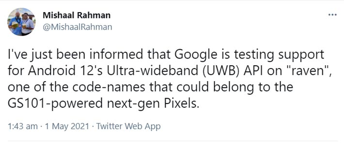 Google Pixel 6 will have UWB Connectivity