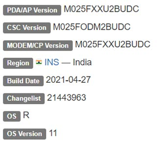 Samsung Galaxy M02s Android 11 Firmware Details