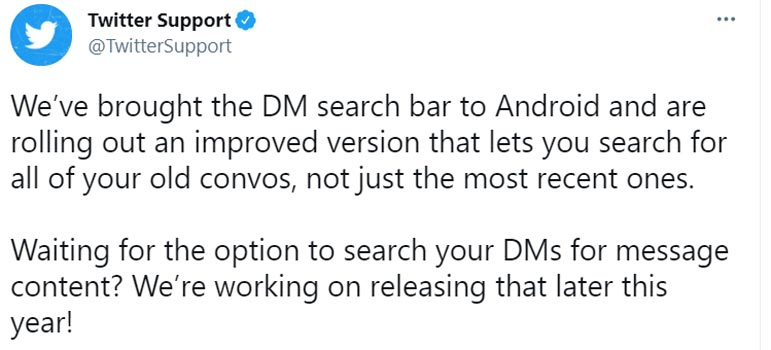 Twitter DMs Search Bar Android Official Tweet