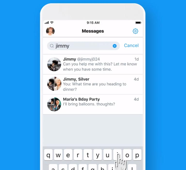 Twitter DMs Search Bar Android and iOS