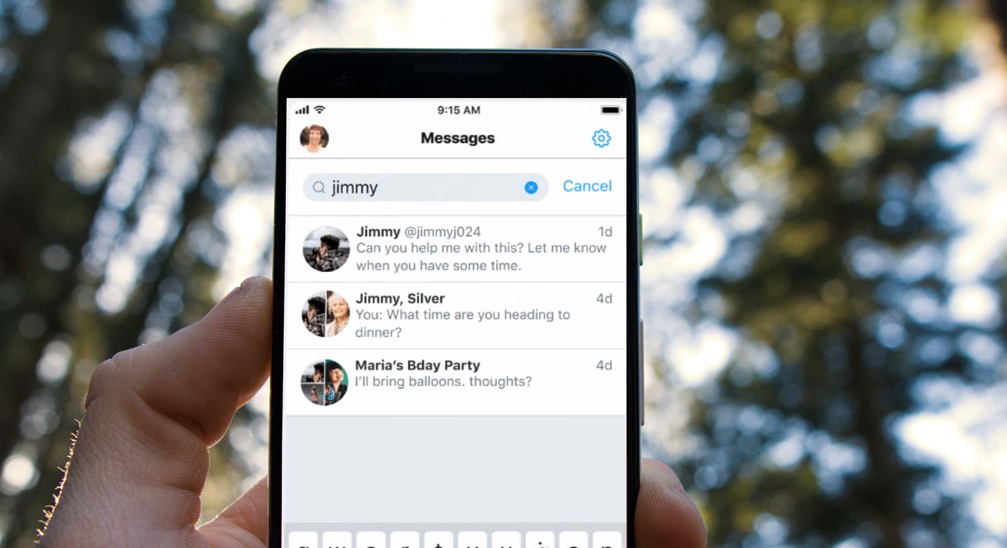 Twitter DMs Search Bar in Android Mobile