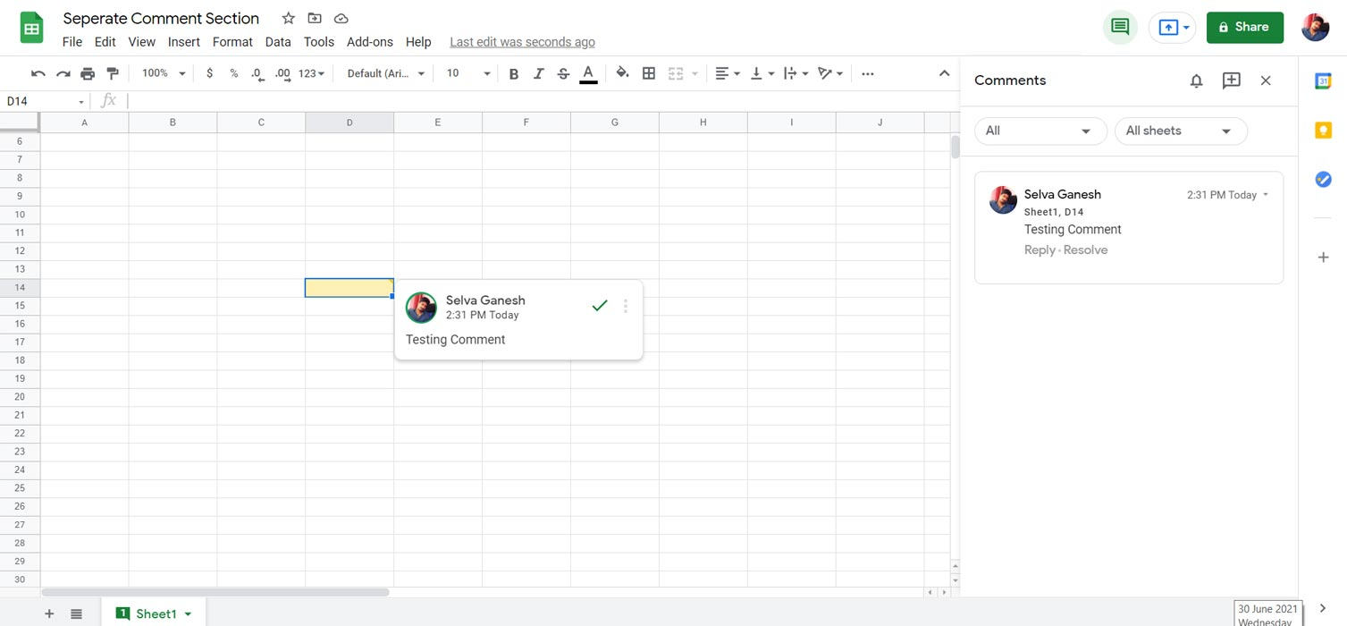 Google Sheet Comments Section Options