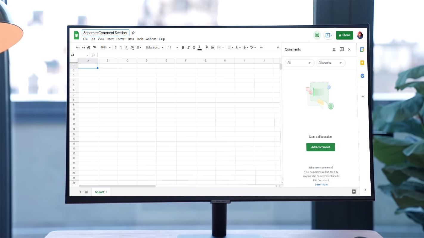 Google Sheets Seperate Comment Section in Samsung LED Monitor