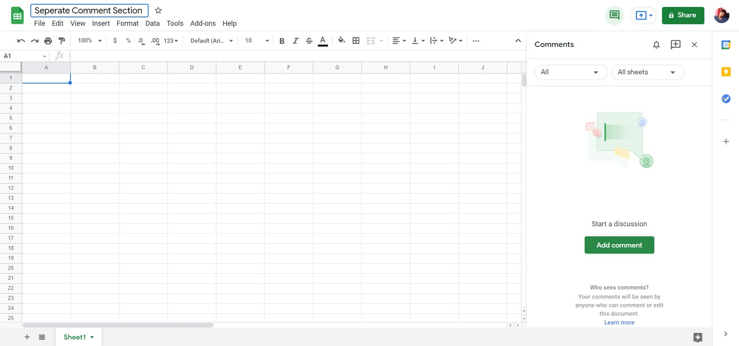 Seperate Comments Section Google Sheets