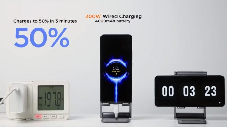 Xiaomi 200W Charger 50 Percentage in 3 Minutes